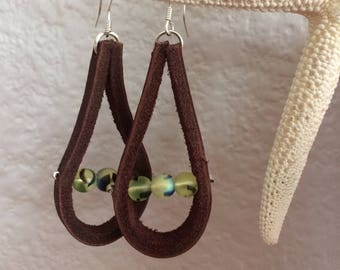 Dark Brown Leather Earrings with Iridescent Beads