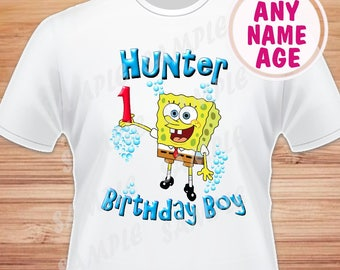 Any Name And Age For Birthday Boy SpongeBob SquarePants Digital File Iron On Transfer Family Shirts Printable