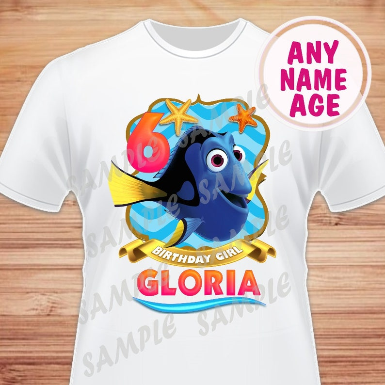 Finding Dory Shirt Birthday T-Shirt Custom Name and Age Finding Dory Nemo