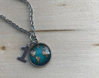 """16"""" Stainless Steel One Earth Necklace"""