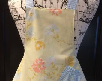 Child's Reversible Apron Girl's Vintage Linen Inspired Apron