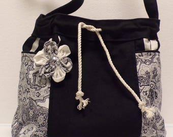 Drawstring Bucket Handbag Black and White