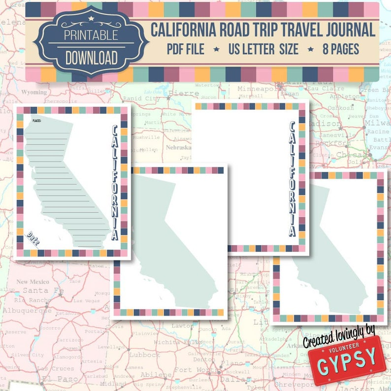 California Road Trip Travel Journal – Instant Download / Printable PDF  Travel Planner Journal Pages Size: Letter / 8 5 x 11 - Retro color