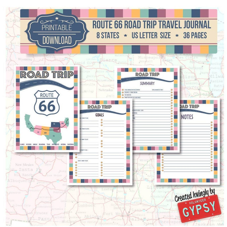 image relating to Travel Journal Printable called Path 66 Street Getaway Generate Magazine Immediate Obtain / Printable PDF Generate Planner Magazine Internet pages Measurement: Letter / 8.5 x 11 - Retro coloration