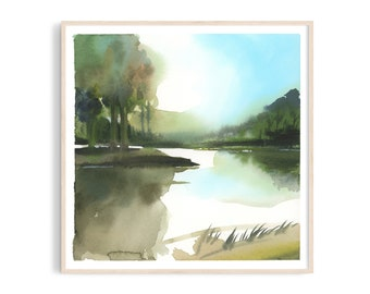 Art print: Blue forest watercolor. Fine art giclee print on archival paper. Illustration. 20x20, 30x30, 50x50, 100x100 cm. Poster.