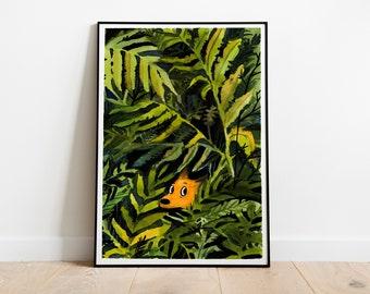 Art print: Fox in the bushes . Fine art giclee print on archival paper. Illustration. 50x70, 42x59,4, 30x42, 21x30 cm. Poster.