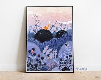 Art print: On the hill. Fine art giclee print on archival paper. Illustration. 50x70, 42x59,4, 30x42, 21x30 cm. Poster.