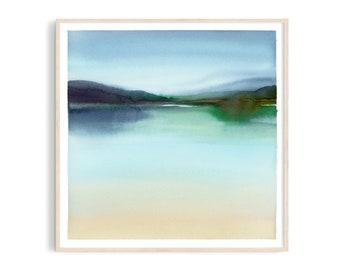 Art print: Emerald lake watercolor. Fine art giclee print on archival paper. Illustration. 20x20, 30x30, 50x50, 100x100 cm. Poster.