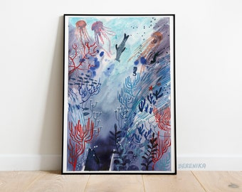 Art print: Seal in the depths. Fine art giclee print on archival paper. Illustration. 50x70, 42x59,4, 30x42, 21x30 cm. Poster.