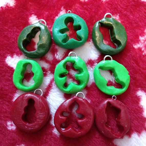 Polymer Clay Christmas Charms.Polymer Clay Christmas Necklace Charm Set