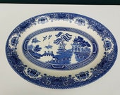 Vintage Staffordshire English Old Willow Blue White Oval Serving Platter Plate