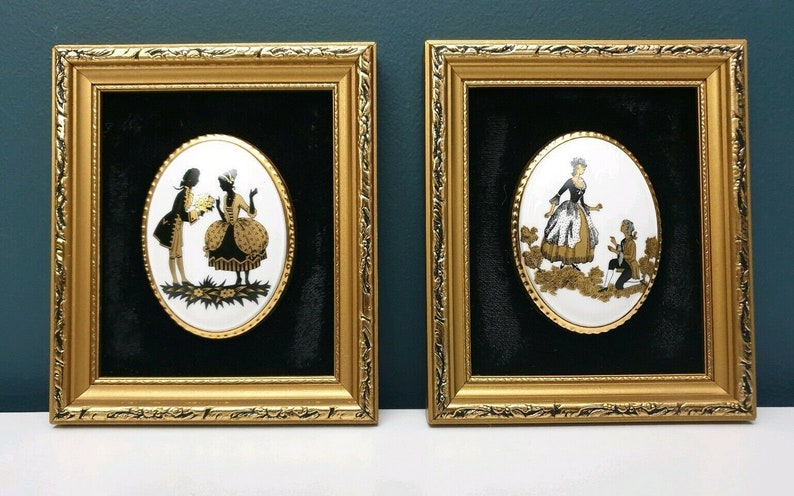 Vintage Harleigh China Staffordshire England Fine Bone China Wall Hanging Plaques Cameo Medalions /'Countess/' Pair of Silhouettes Series