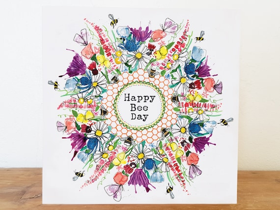 "BUMBLE BEE /""Happ-bee Birthday/"" art Note Card//Greetings Card"