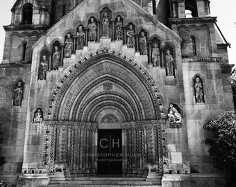 Church at Vajdahunyad Castle, Budapest Hungary, Europe, Black and White, Wall Art, Photography Print