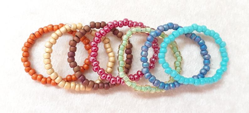 boho jewelry stretch ring single seed bead rings stretch rings stacking rings set of rings beaded rings Seed bead rings