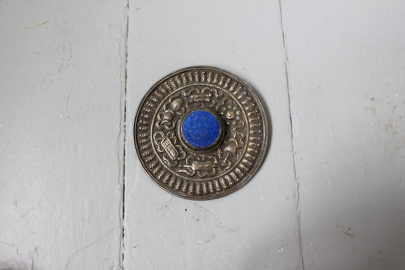 Vintage Large Silver and Lapis Lazuli Repouss\u00e9 Brooch Scarf Pin Coat Pin Blue Pin