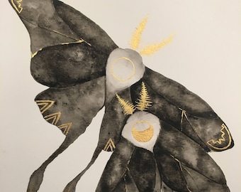 Luna Moths Print - With Gold Paint addition