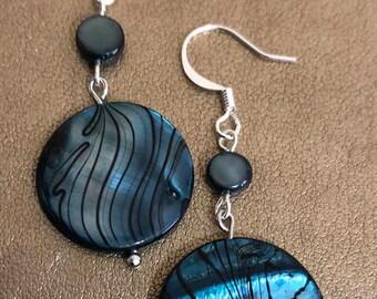 Blue striped beaded earrings