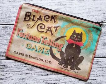 Black Cat Fortune Zipper Pouch Cosmetic Makeup Bag Halloween