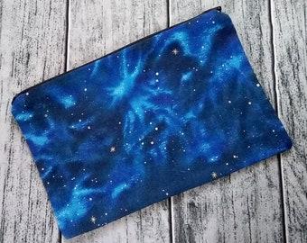 Galaxy Cosmos Night Sky Poly Mesh Zipper Pouch Cosmetic Makeup Bag