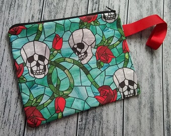 Skull and Rose Stained Glass Wristlet Clutch Bag Purse Ready to Ship