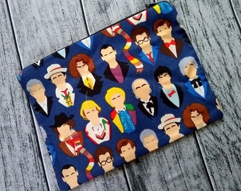 12 Doctors Doctor Who Poly Mesh Zipper Pouch Cosmetic Makeup Bag