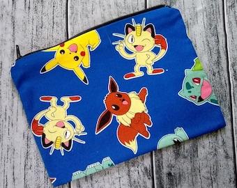 Pokemon Poly Mesh Zipper Pouch Cosmetic Makeup Bag