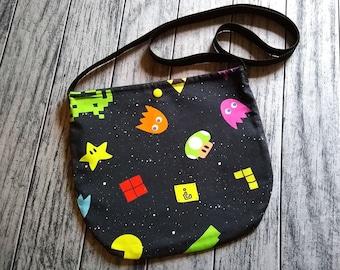 Old School Arcade Gamer Cross Body Unisex Bag Purse ToteFestival Ready to Ship
