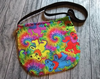 Dancing Bears and Tie Dye Cross Body Unisex Bag Purse Tote Festival Ready to Ship
