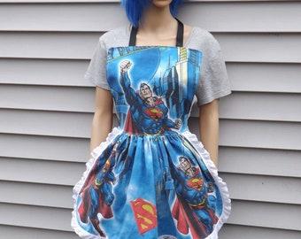 Superman Retro Ruffle Dinner Party Hostess Vintage Reconstruction S-L Ready to ship