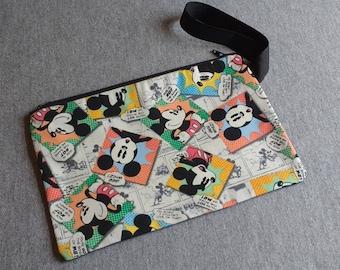 Mickey Mouse News Wristlet Clutch Bag Purse Ready to Ship