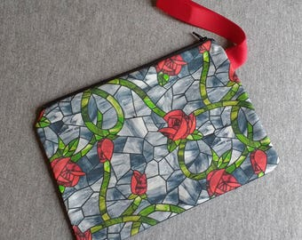 Beauty Rose Stained Glass Style Wristlet Clutch Bag Purse Ready to Ship