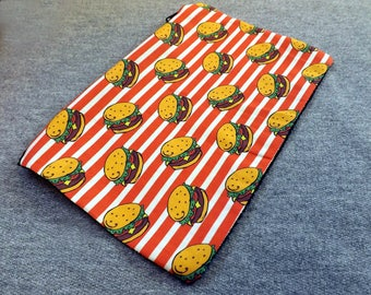 Cheeseburger Poly Mesh Zipper Pouch Cosmetic Makeup Bag