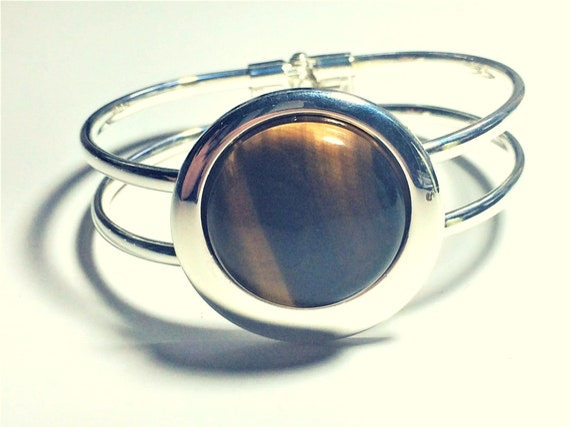 Boho Cuff Bracelet,Brown Stone Cuff Bangle,Tigers Eye Bracelet,Tiger Eye Bangle,Retro Bracelet,Secret Santa,Bran Tub Gift,Wicked Fish Design