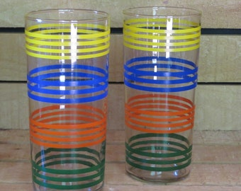 "Vintage Indiana Strata Tumblers in Bright Stripes/ Retro Drinking Glasses/Ice Tea Glasses/Set of 2/6.25"" tall x 2.75"" across"