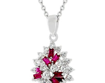 Mixed ruby red cluster pendant