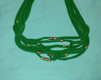 Green with gold beads T-shirt Necklace