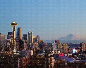 e9d3570b2 Seattle Skyline - Space Needle - Mount Rainier - Sunset - Pink Mountain -  View From Kerry Park 8 X 10