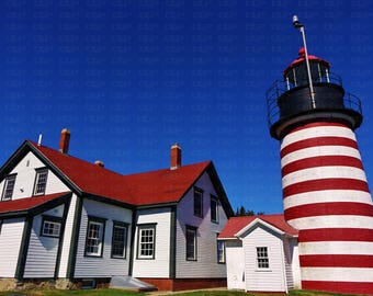 Red White Lighthouse Lubec Maine West Quoddy Head Light Stripes White House Red Roof Blue Sky New England Beautiful Colorful Unique Historic