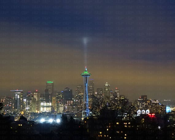 84bf7c8d19d Seattle Skyline Nighttime Seahawks Colors Super Bowl 12th Man