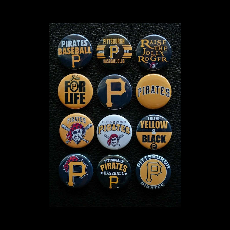 Pittsburgh Pirates 1 Inch Buttons  Set of 12