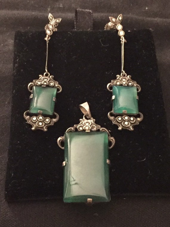 Art Deco Marcasite Green Stone Earrings and penden