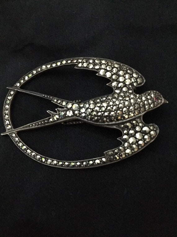 Art Deco Silver marcasite Swallow dress clip/brooc