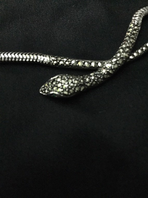 Art Deco Silver Marcasite Snake necklace choker.