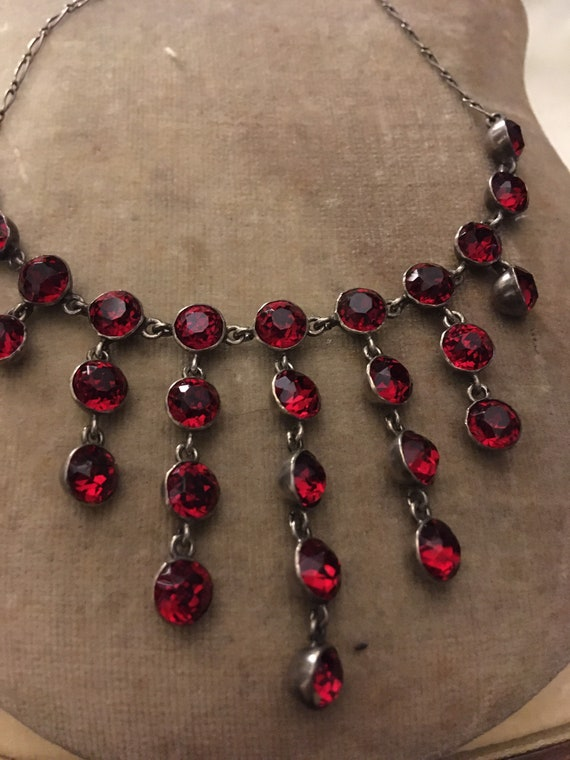Antique Silver Red Paste Waterfall Bib Necklace.
