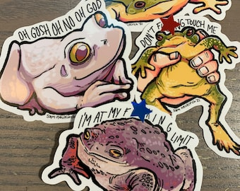 """Stressed Frogs - 3"""" Vinyl Stickers"""