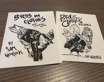 Birds in Clothes 1 & 2 - Mini Coloring Book Zine