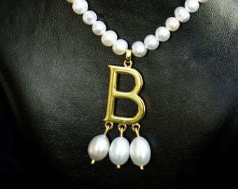 Anne Boleyn necklace gold plated silver and pearls