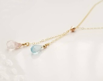 March Birthstone Raw Aquamarine Lariat Necklace Layering Modern Minimal Adjustable Y Necklace Boho Jewelry Gift for Her Stocking Stuffer