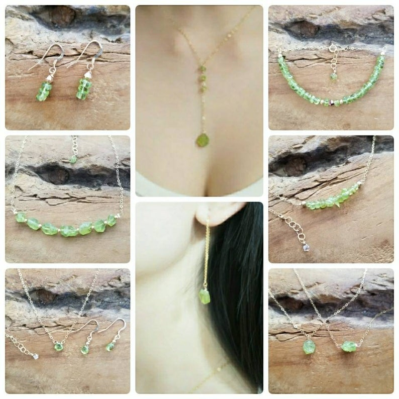 Agust Birthstone Peridot Jewelry Set Peridot Necklace Tiny Peridot Necklace Agust Birthday Gift Peridot Choker Necklace